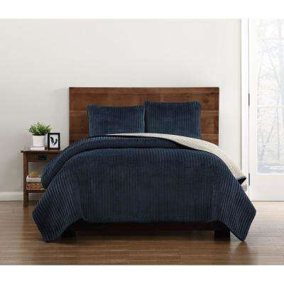 Everyday Velvet Pick Stitch Quilt Sets Navy Full/Queen Quilt Set
