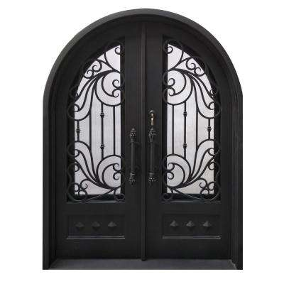 62 in. x 81 in. Matte Black Right-Hand Inswing 1 Lite Clear Double-Glazed Iron Prehung Front Door