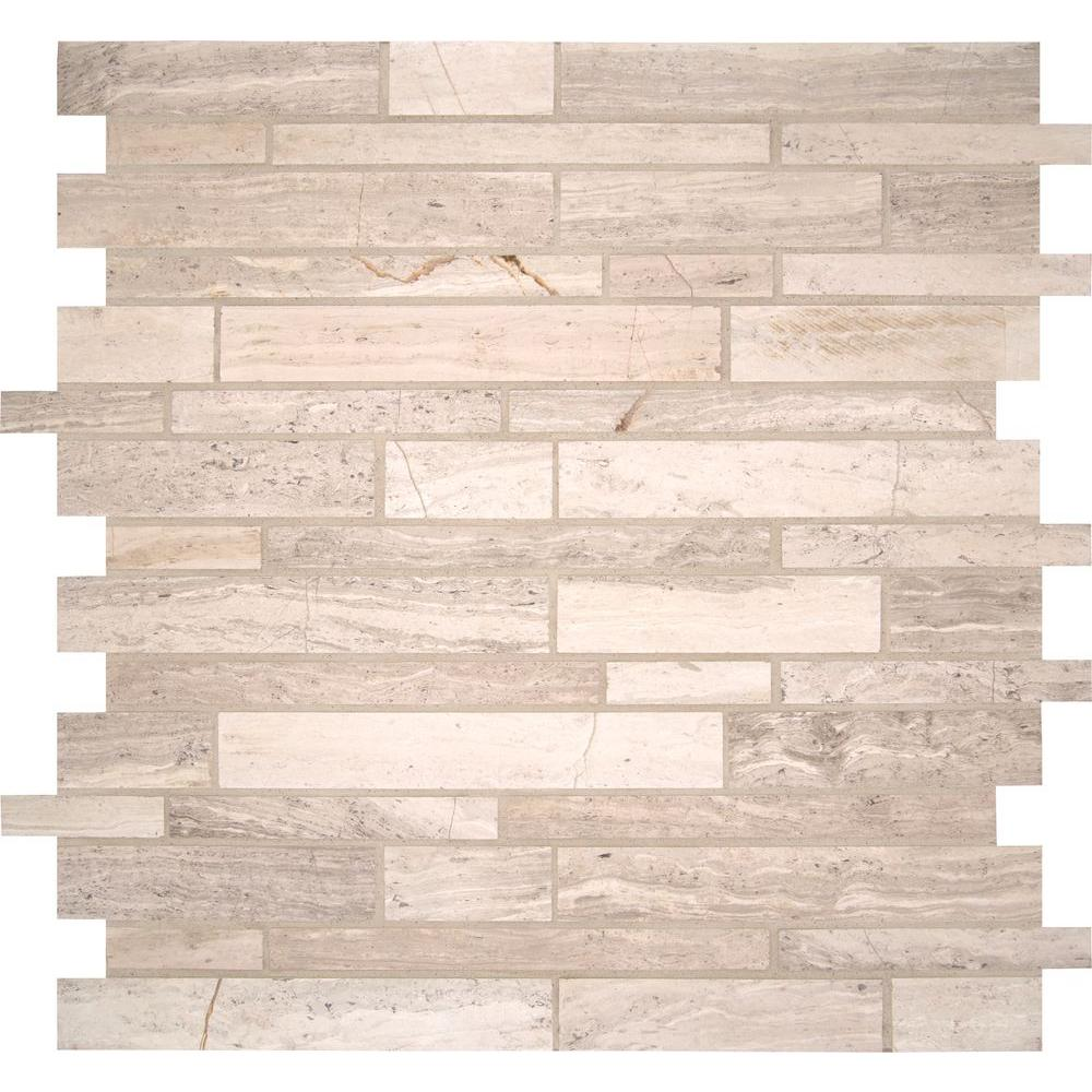 MSI White Quarry Interlocking 12 in  x 12 in  x 10 mm Honed Marble  Mesh-Mounted Mosaic Wall Tile (10 sq  ft  / case)