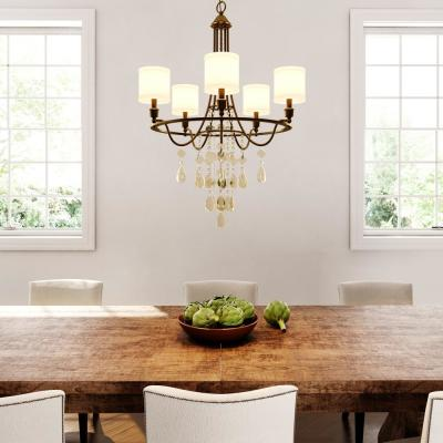 Flourish Collection 5-Light Cognac Chandelier with Linen Shade