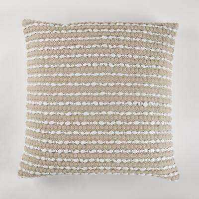 Handwoven two tone grey Pillow with fringes