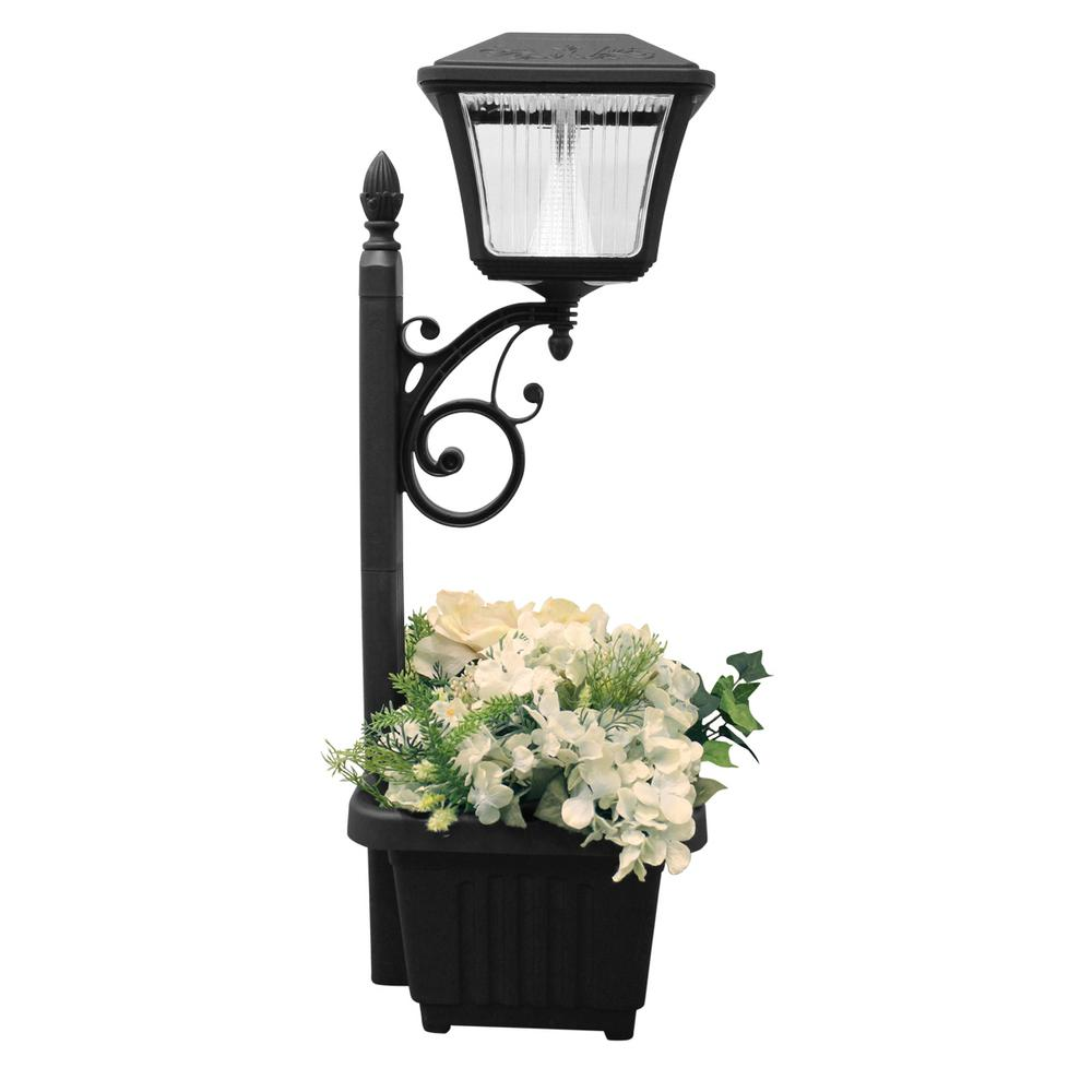 Superb Gama Sonic Solar Powered Black LED Path And Garden Light With Attachable  Planter