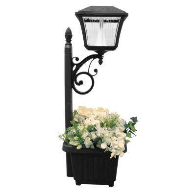 Solar Powered Black LED Path and Garden Light with Attachable Planter
