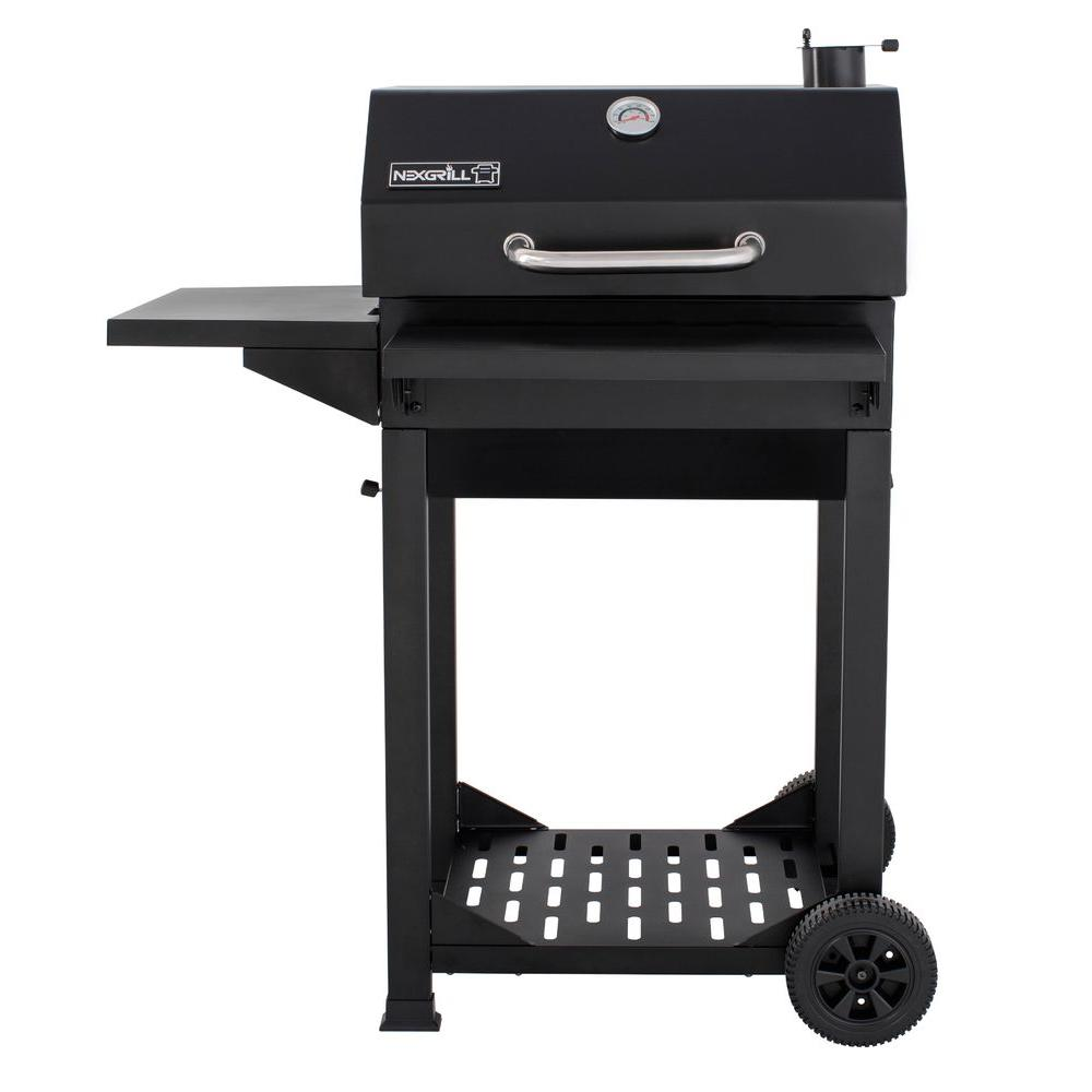Cart-Style Charcoal Grill in Black with Side Shelf and Foldable Front