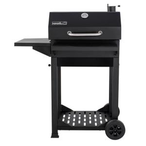 Cart-Style Charcoal Grill in Black with Side Shelf and Foldable Front Shelf