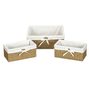 Paper Rope Lined Utility Basket in Natural Seagrass with Washable Cotton Liner (Set of 3)