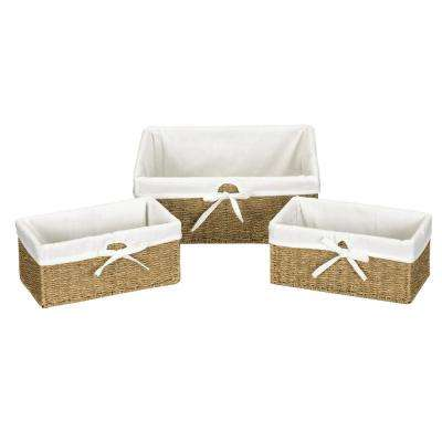 Natural Seagrass Set of 3 Utility Baskets 1 Large and 2 Small with Washable Cotton Liner