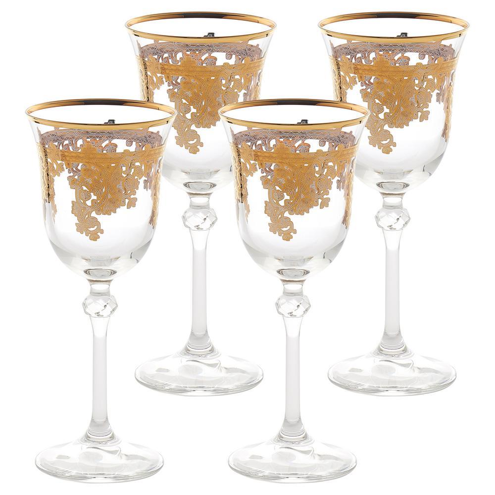 Lorren Home Trends Embellished 24k Gold Crystal White Wine Goblets Set Of 4
