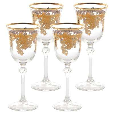 Embellished 24K Gold Crystal White Wine Goblets (Set of 4)