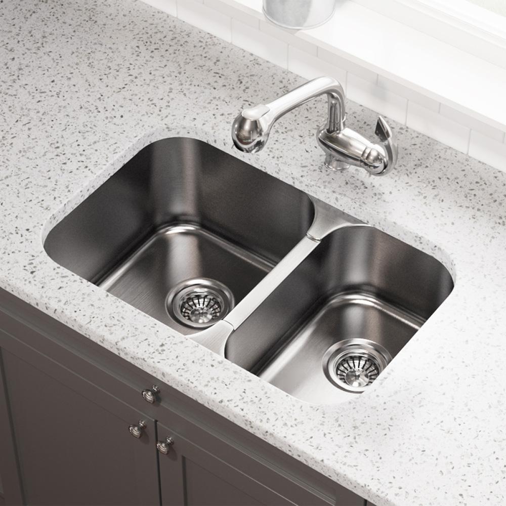 Undermount Stainless Steel 28 in. Double Bowl Kitchen Sink