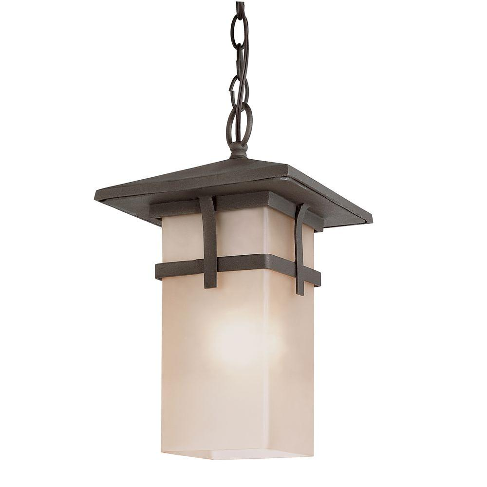 Bel Air Lighting 1-Light Antique Rust Hanging Craftsman Lantern