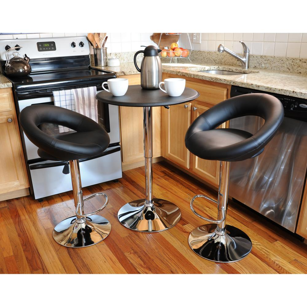 Retro Style Bar Table Set In Black With Padded Vinyl Chair 3 Piece