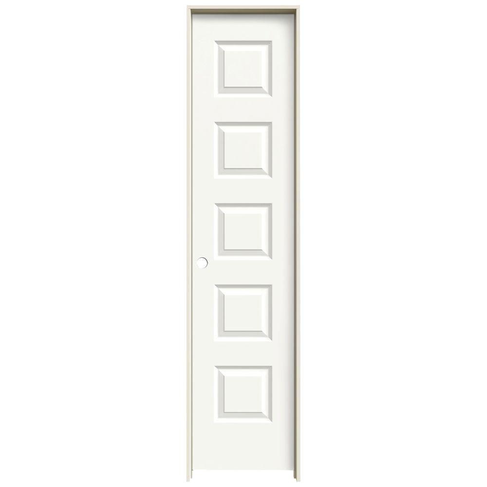 JELD-WEN 18 in. x 80 in. Rockport White Painted Right-Hand Smooth Molded Composite MDF Single Prehung Interior Door