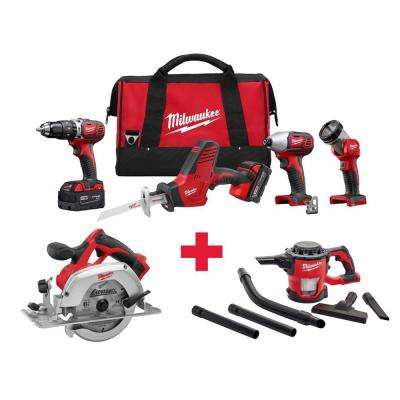 M18 18-Volt Lithium-Ion Cordless Combo Kit (4-Tool) with Free M18 Circ Saw and M18 Vacuum