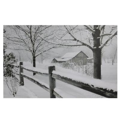 23.5 in. x 15.5 in. Large Fiber Optic Lighted Snowy Winter Cabin Canvas Wall Art