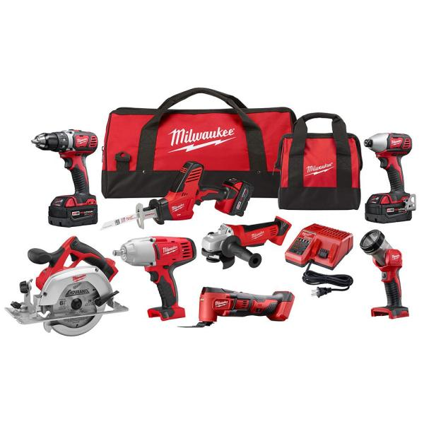 Milwaukee M18 18-Volt Lithium-Ion Cordless Combo Kit (8-Tool) with Three 4.0 Ah Batteries, 1 Charger, 2 Tool Bag