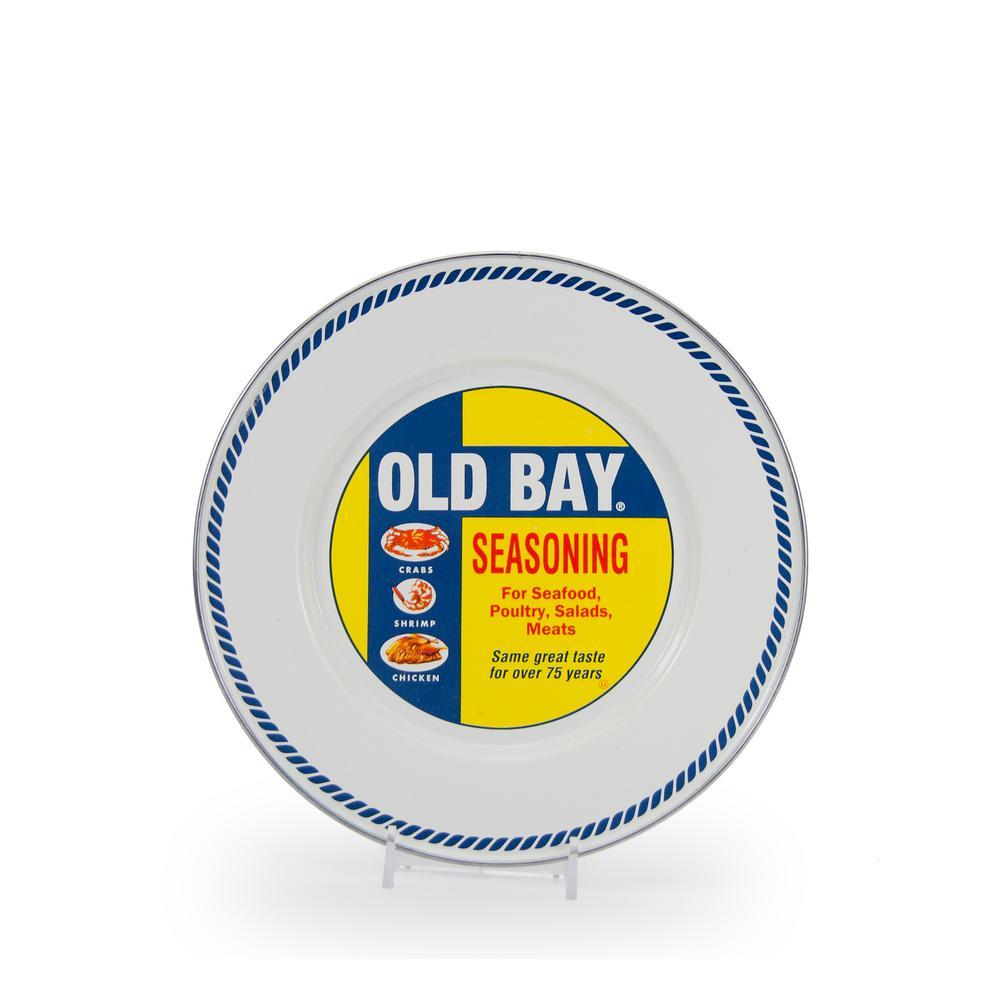 Old Bay White Enamelware Sandwich Plate