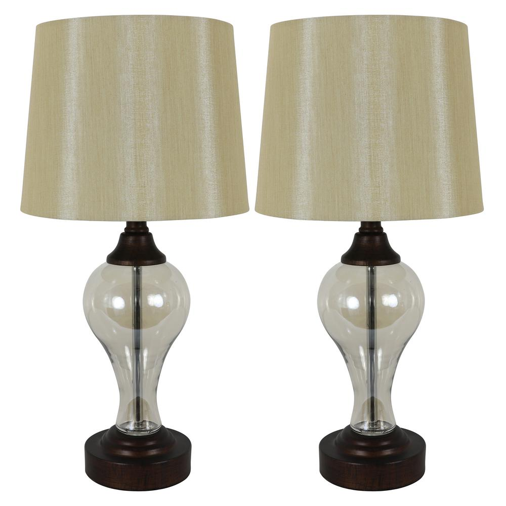 Decor Therapy Brady 17.25 in. Bronze Table Lamps with USB Ports (Set of 2)