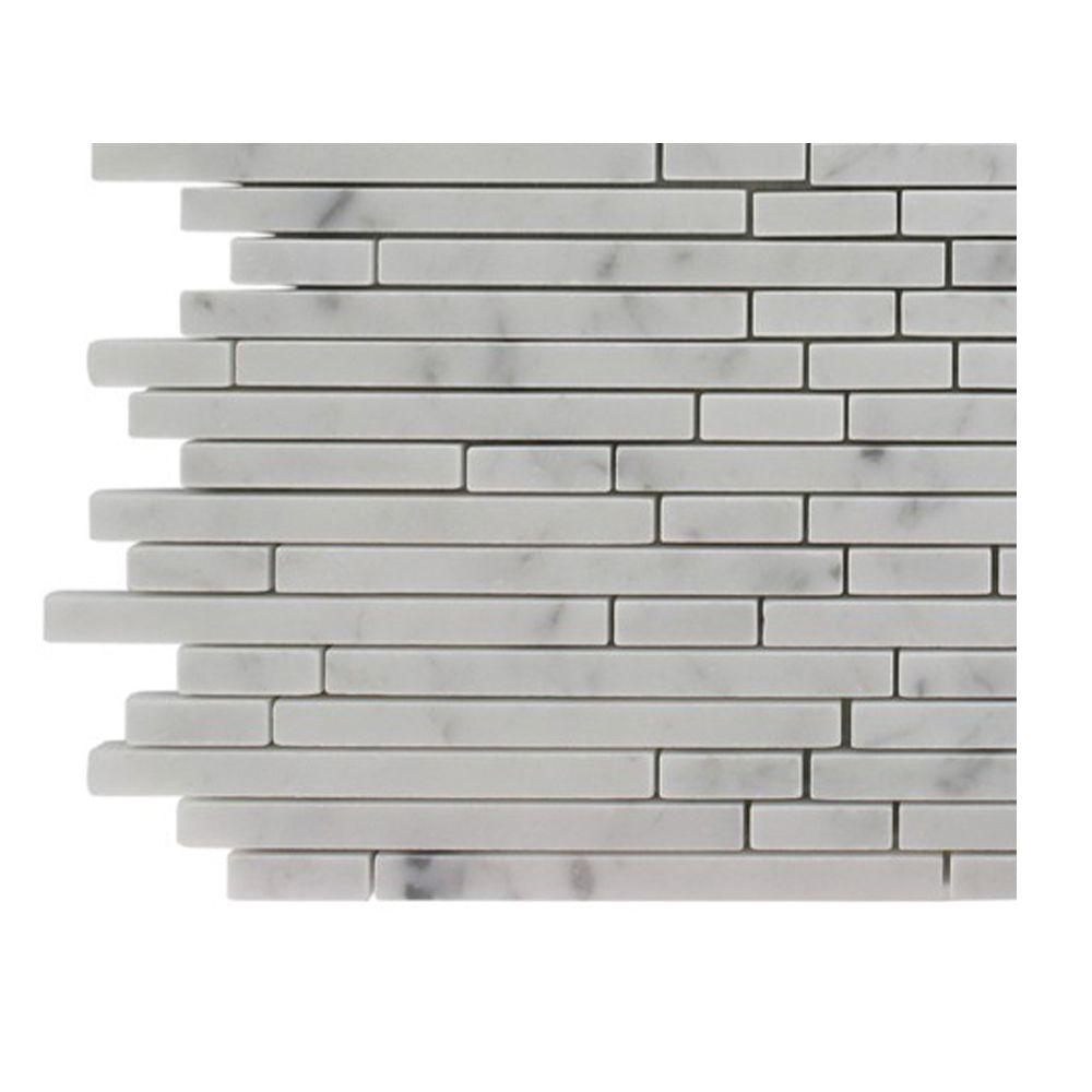 Splashback Tile Windsor 1/4 in. x Random White Carrera Pattern Marble Mosaic Tiles - 6 in. x 6 in. Tile Sample