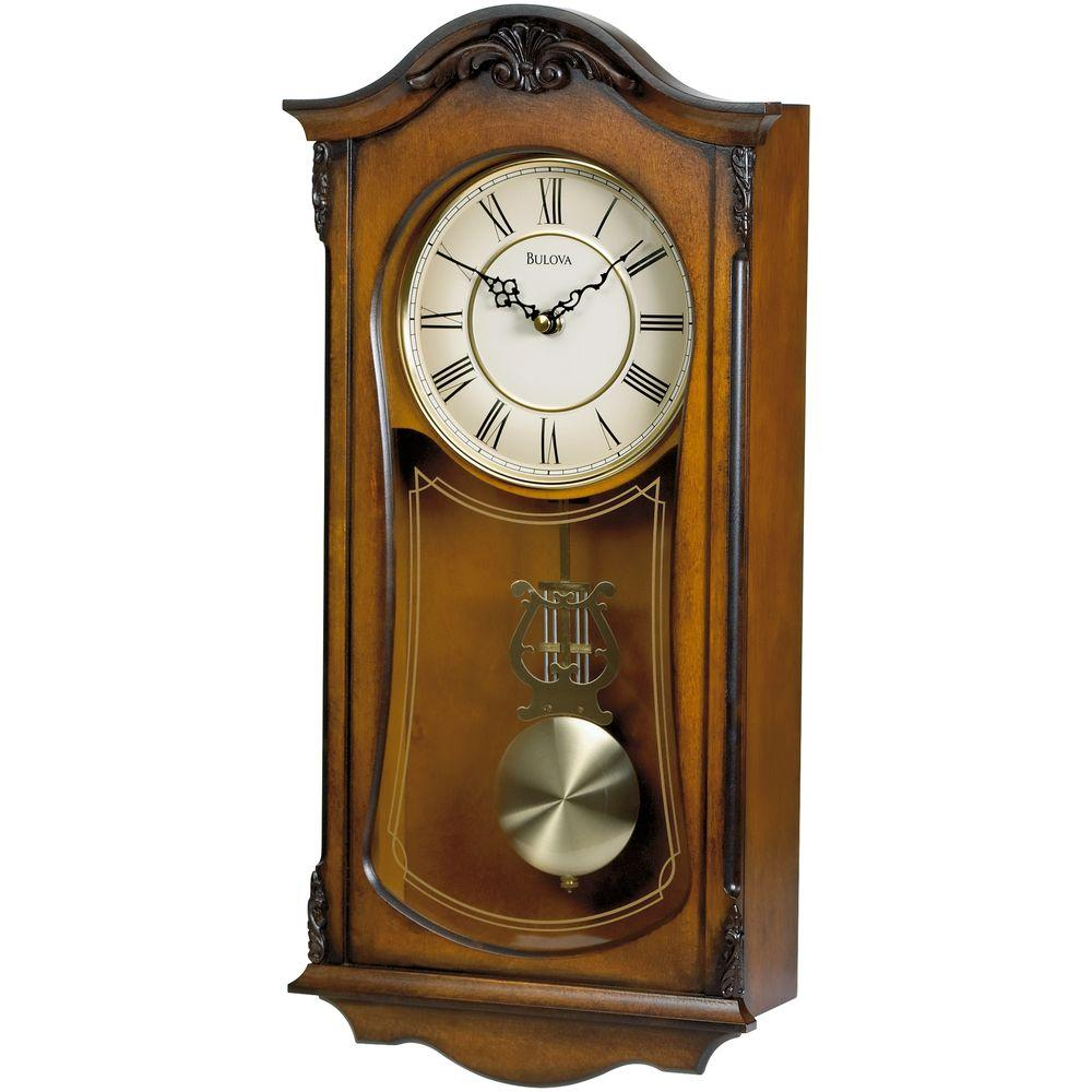 Bulova 19 in h x 9 in w pendulum chime wall clock c3542 the home depot - Mondaine wall clock cm ...