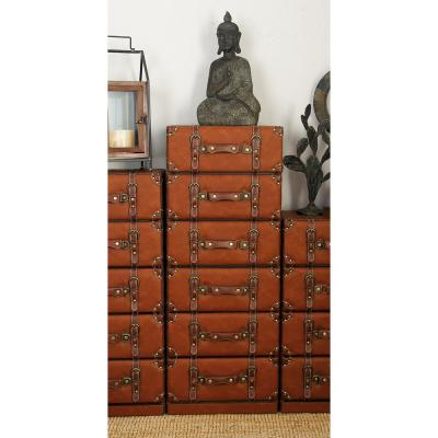 Globetrotter 6-Tier Wood and Leather Trunk-Style Cabinet