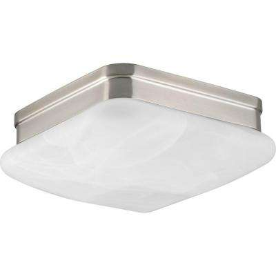 Appeal 9 in. 2-Light Brushed Nickel Square Flushmount with Alabaster Glass