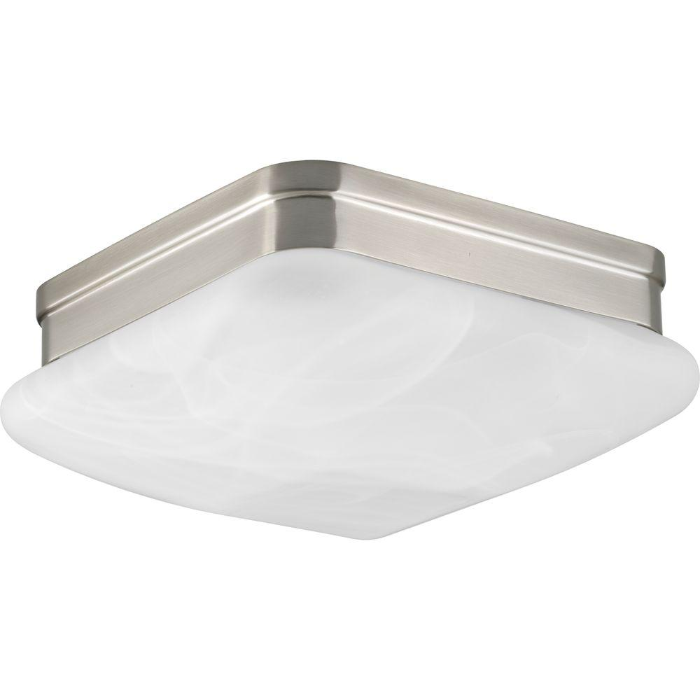 Appeal 2-Light Brushed Nickel Square Flushmount with Alabaster Glass