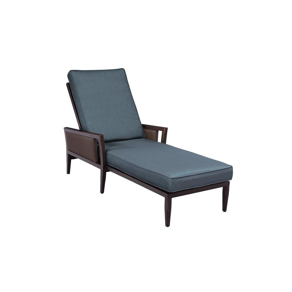 Brown jordan greystone patio chaise lounge with denim for Brown chaise lounge outdoor