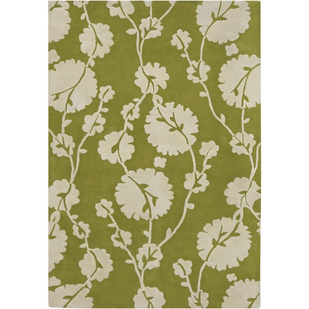 Chandra Amy Butler Olive Green Cream 7 Ft 9 In X 10 6 Indoor Area Rug Amy13205 79106 The Home Depot