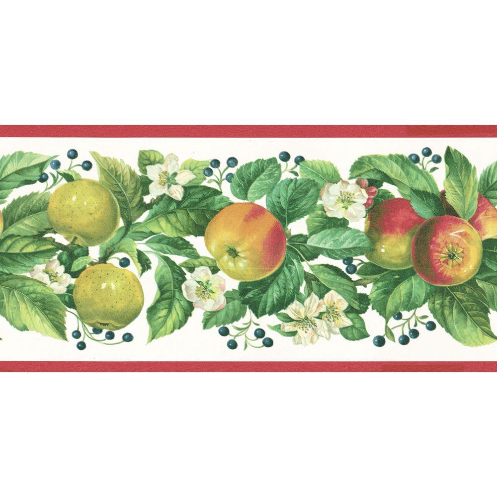 The Wallpaper Company 10 in. x 8 in. Red and Green Fruit Trail Border Sample-DISCONTINUED