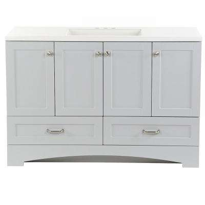 Lancaster 49 in. W x 19 in. D Bath Vanity in Pearl Gray with Cultured Marble Vanity Top in White with White Sink