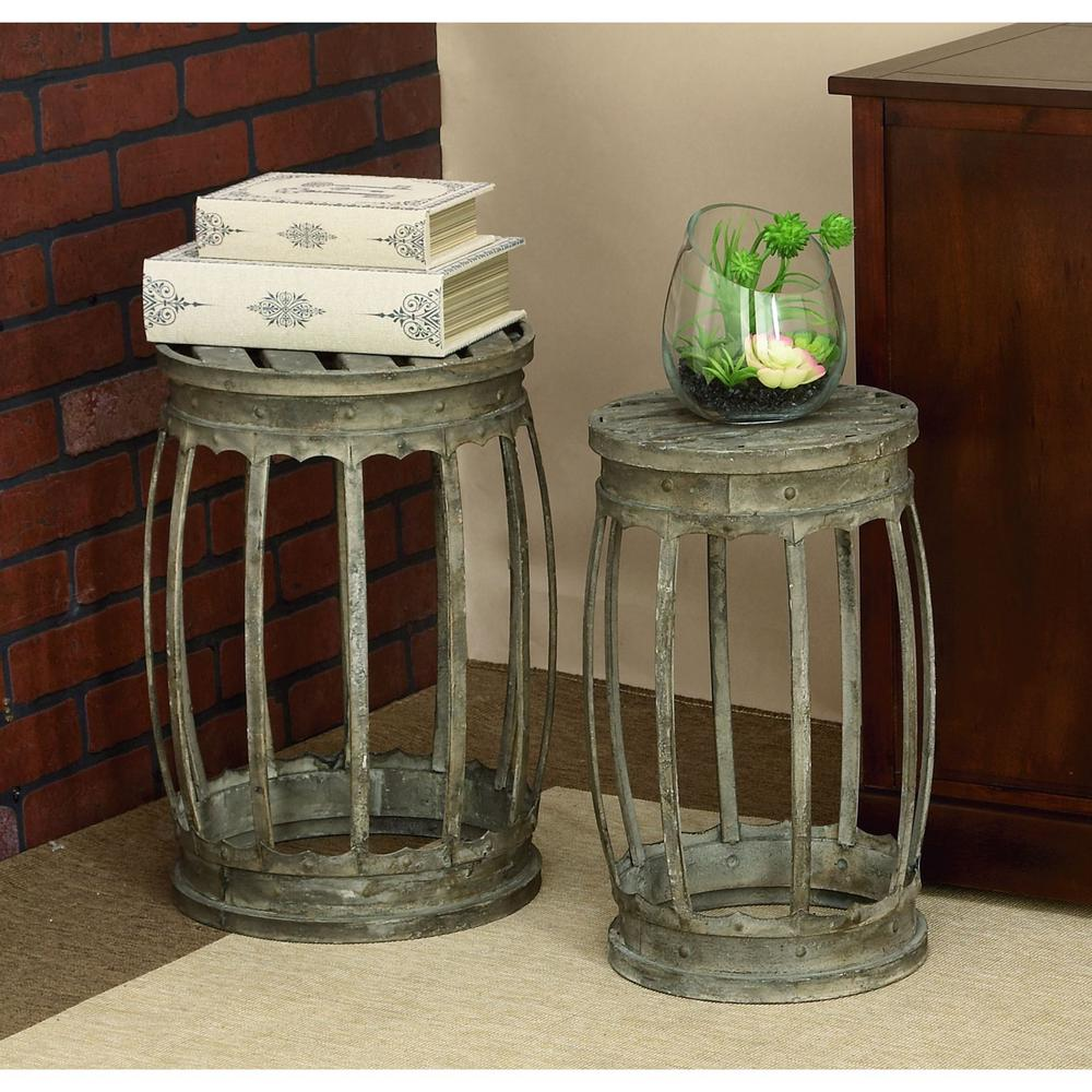 Distressed Metal Band Stools (Set of 2)-52937 - The Home Depot