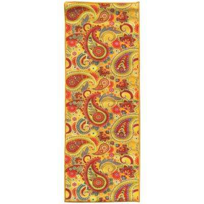 Sweet Home Collection Paisley Design Yellow 2 ft. x 6 ft. Indoor Runner Rug