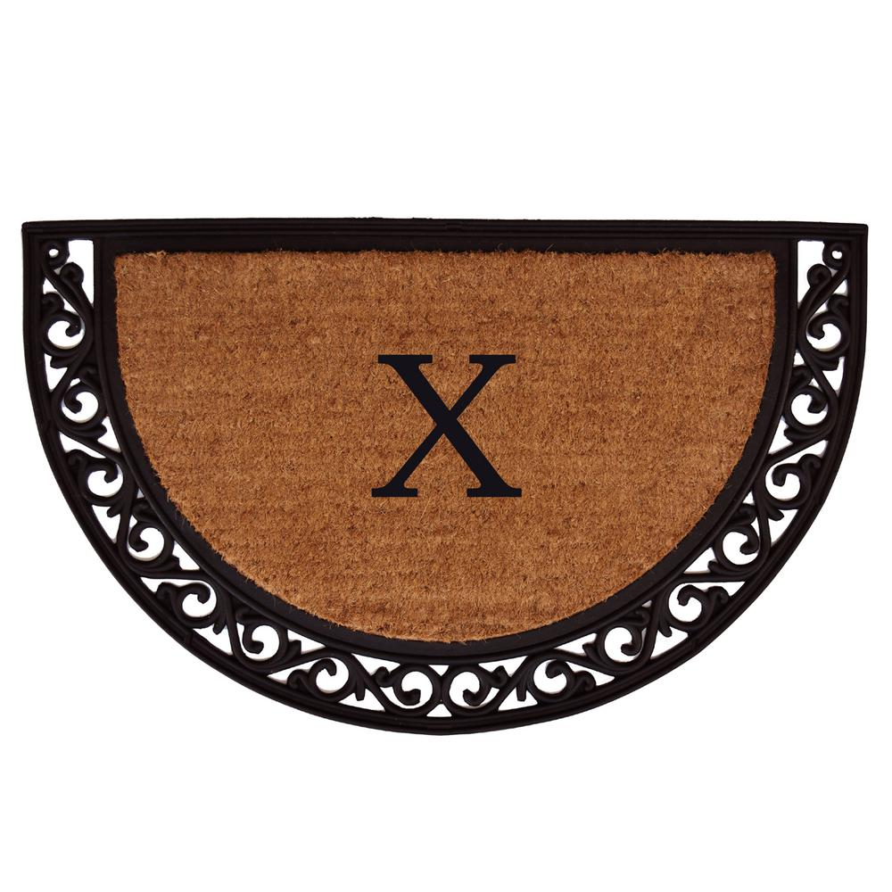 Ornate Scroll 18 in. x 30 in. Monogram x Door Mat