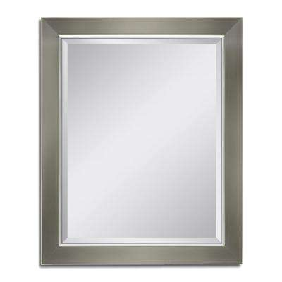 28 in. W x 34 in. H Brush Nickel with Chrome Liner Wall Mirror