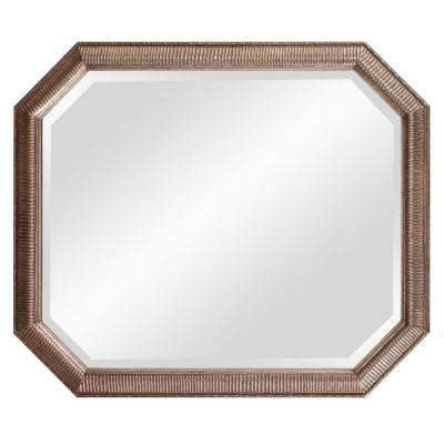 36 in. x 30 in. Antique Silver Octagonal Framed Mirror