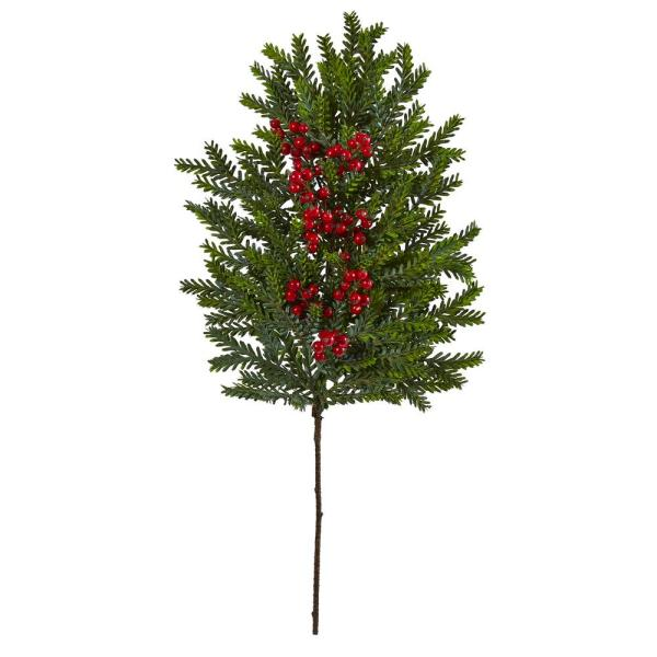34 in. Unlit Pine and Berries Artificial Hanging Plant (Set of 3)