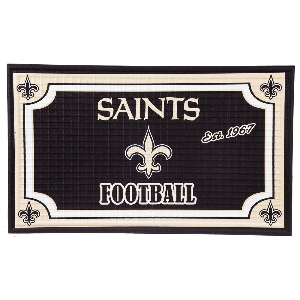 Evergreen New Orleans Saints 18 in. x 30 in. Embossed Welcome Mat ...