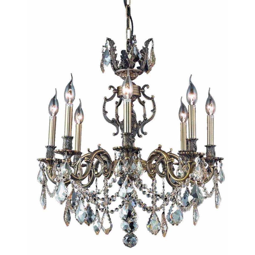 Antique Candle Chandeliers Champagne Crystal Chandelier: Elegant Lighting 8-Light Antique Bronze Chandelier With
