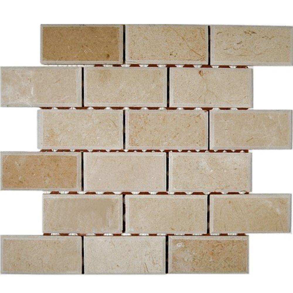 Splashback tile crema marfil chamfered 12 in x 12 in x 8 for Lugano marfil
