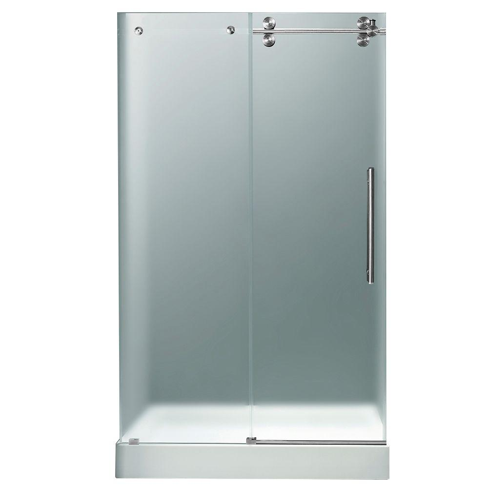 Vigo 48 in. x 80 in. Frameless Bypass Shower Door in Chrome with Frosted Glass with Right White Base with Center Drain