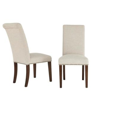 Hanford Sable Brown Wood Upholstered Dining Chair with Biscuit Beige Seat (Set of 2) (18.90 in. W x 40.55 in. H)