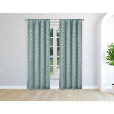 Bryn Teal Pole Top Panel Pair - 37 in. W x 96 in. L in (2-Piece)