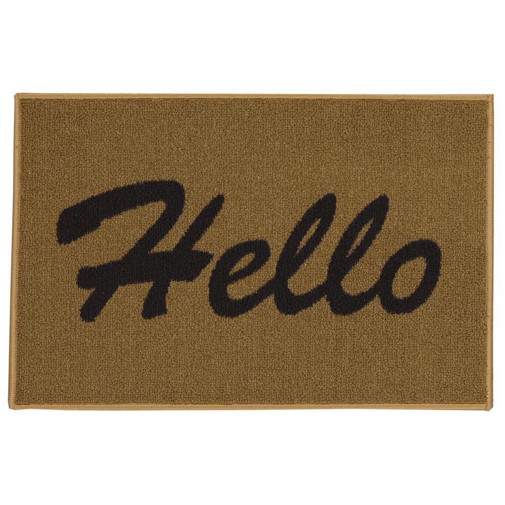 Doormat Collection Rectangular Beige Hello 20 in. x 30 in. Door Mat