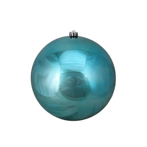 10 in. (250 mm) Turquoise Blue Commercial Shatterproof Shiny Christmas Ball Ornament