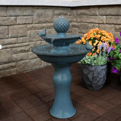 27 in. Resting Birds Ceramic 2-Tiered Cascading Outdoor Water Fountain
