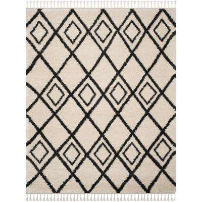 Moroccan Fringe Shag Cream/Charcoal 8 ft. x 10 ft. Area Rug