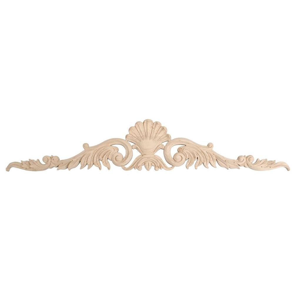 American Pro Decor 5-3/4 in. x 31 in. x 5/8 in. Unfinished Hand Carved North American Solid Hard Maple Wood Onlay Acanthus Wood Applique
