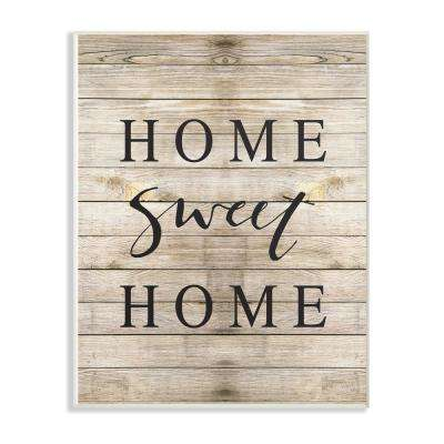 "13 in. x 19 in. ""Home Sweet Home Family Typography"" by Border Bloom Printed Wood Wall Art"