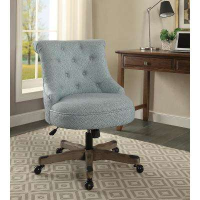 Sinclair Light Blue With White Polka Dots Upholstered Fabric And Gray Wood  Base Office Chair